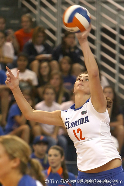 Florida sophomore setter/right-side hitter Kelly Murphy serves during the Gators' 3-0 win against the Colorado Buffaloes on Saturday, August 29, 2009 at the Stephen C. O'Connell Center in Gainesville, Fla / Gator Country photo by Tim Casey