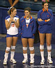 Florida freshman Sundai Weston talks with Elissa Hausmann during the Gators' 3-0 win against the Colorado Buffaloes on Saturday, August 29, 2009 at the Stephen C. O'Connell Center in Gainesville, Fla / Gator Country photo by Tim Casey