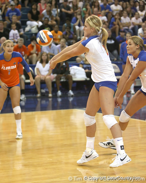 Florida sophomore outside hitter Colleen Ward makes a pass during the Gators' 3-0 win against the Colorado Buffaloes on Saturday, August 29, 2009 at the Stephen C. O'Connell Center in Gainesville, Fla / Gator Country photo by Tim Casey