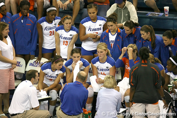Florida huddles during the Gators' 3-0 win against the Colorado Buffaloes on Saturday, August 29, 2009 at the Stephen C. O'Connell Center in Gainesville, Fla / Gator Country photo by Tim Casey