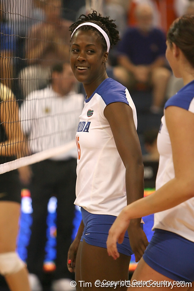 Florida redshirt senior outside hitter Kristina Johnson reacts after a point during the Gators' 3-0 win against the Colorado Buffaloes on Saturday, August 29, 2009 at the Stephen C. O'Connell Center in Gainesville, Fla / Gator Country photo by Tim Casey