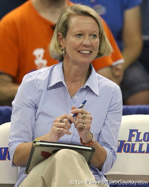 Florida volleyball head coach Mary Wise watches during the Gators' 3-0 win against the Colorado Buffaloes on Saturday, August 29, 2009 at the Stephen C. O'Connell Center in Gainesville, Fla / Gator Country photo by Tim Casey