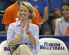 Florida volleyball head coach Mary Wise applauds after a play during the Gators' 3-0 win against the Colorado Buffaloes on Saturday, August 29, 2009 at the Stephen C. O'Connell Center in Gainesville, Fla / Gator Country photo by Tim Casey
