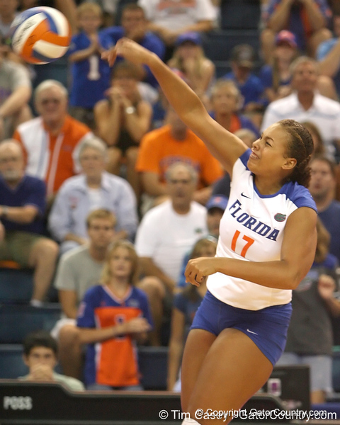 Florida junior right-side hitter Lauren Bledsoe makes an attack during the Gators' 3-0 win against the Colorado Buffaloes on Saturday, August 29, 2009 at the Stephen C. O'Connell Center in Gainesville, Fla / Gator Country photo by Tim Casey