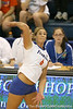 Florida redshirt sophomore outside hitter Kristy Jaeckel makes an attack during the Gators' 3-0 win against the Colorado Buffaloes on Saturday, August 29, 2009 at the Stephen C. O'Connell Center in Gainesville, Fla / Gator Country photo by Tim Casey