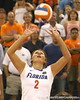 Florida junior setter Brynja Rodgers sets the ball during the Gators' 3-0 win against the Colorado Buffaloes on Saturday, August 29, 2009 at the Stephen C. O'Connell Center in Gainesville, Fla / Gator Country photo by Tim Casey