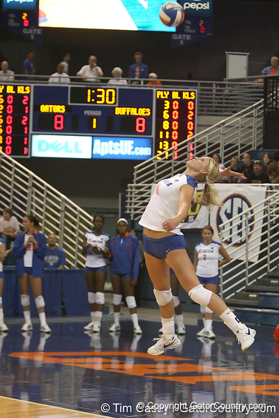 Florida sophomore outside hitter Colleen Ward serves during the Gators' 3-0 win against the Colorado Buffaloes on Saturday, August 29, 2009 at the Stephen C. O'Connell Center in Gainesville, Fla / Gator Country photo by Tim Casey