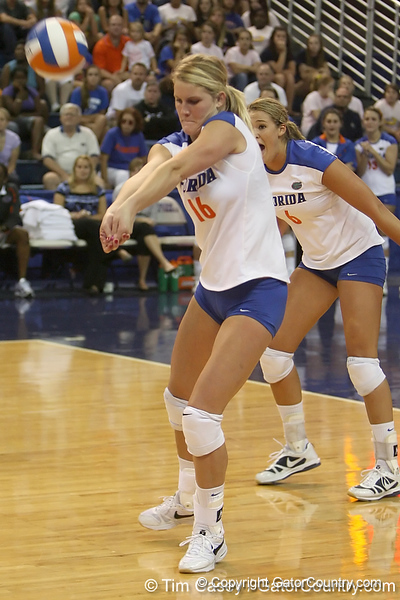 Florida sophmore outside hitter Colleen Ward makes a dig during the Gators' 3-0 win against the Colorado Buffaloes on Saturday, August 29, 2009 at the Stephen C. O'Connell Center in Gainesville, Fla / Gator Country photo by Tim Casey