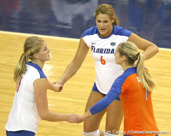 Florida redshirt sophomore outside hitter Kristy Jaeckel reacts after a point during the Gators' 3-0 win against the Colorado Buffaloes on Saturday, August 29, 2009 at the Stephen C. O'Connell Center in Gainesville, Fla / Gator Country photo by Tim Casey