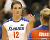 Florida sophomore setter/right-side hitter Kelly Murphy talks to a teammate during the Gators' 3-0 win against the Colorado Buffaloes on Saturday, August 29, 2009 at the Stephen C. O'Connell Center in Gainesville, Fla / Gator Country photo by Tim Casey