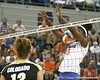 Florida redshirt senior outside hitter Kristina Johnson blocks an attack during the Gators' 3-0 win against the Colorado Buffaloes on Saturday, August 29, 2009 at the Stephen C. O'Connell Center in Gainesville, Fla / Gator Country photo by Tim Casey