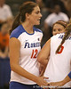 Florida sophomore setter/right-side hitter Kelly Murphy talks with teammates during the Gators' 3-0 win against the Colorado Buffaloes on Saturday, August 29, 2009 at the Stephen C. O'Connell Center in Gainesville, Fla / Gator Country photo by Tim Casey
