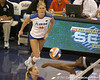 Florida sophomore outside hitter Colleen Ward readies for an attack during the Gators' 3-0 win against the Colorado Buffaloes on Saturday, August 29, 2009 at the Stephen C. O'Connell Center in Gainesville, Fla / Gator Country photo by Tim Casey
