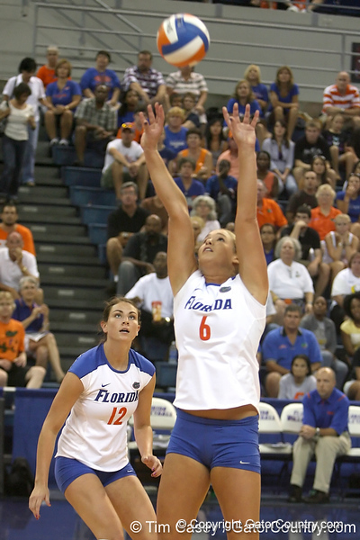 Florida redshirt sophomore outside hitter Kristy Jaeckel makes a pass during the Gators' 3-0 win against the Colorado Buffaloes on Saturday, August 29, 2009 at the Stephen C. O'Connell Center in Gainesville, Fla / Gator Country photo by Tim Casey