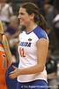 Florida sophomore setter/right-side hitter Kelly Murphy reacts after a point during the Gators' 3-0 win against the Colorado Buffaloes on Saturday, August 29, 2009 at the Stephen C. O'Connell Center in Gainesville, Fla / Gator Country photo by Tim Casey