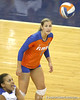 Florida senior libero Elyse Cusack watches the ball during the Gators' 3-0 win against the Colorado Buffaloes on Saturday, August 29, 2009 at the Stephen C. O'Connell Center in Gainesville, Fla / Gator Country photo by Tim Casey