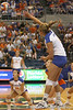 Florida redshirt freshman outside hitter Kristy Jaeckel makes an attack during the Gators' 3-0 win against the Colorado Buffaloes on Saturday, August 29, 2009 at the Stephen C. O'Connell Center in Gainesville, Fla / Gator Country photo by Tim Casey