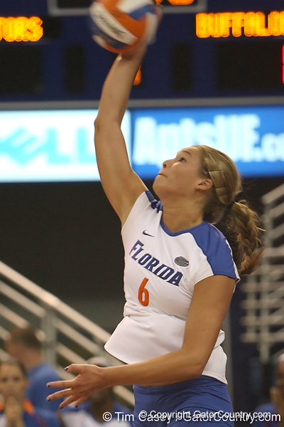 Florida redshirt sophomore outside hitter Kristy Jaeckel serves during the Gators' 3-0 win against the Colorado Buffaloes on Saturday, August 29, 2009 at the Stephen C. O'Connell Center in Gainesville, Fla / Gator Country photo by Tim Casey