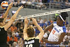 Florida redshirt senior outside hitter Kristina Johnson follows through on an attack during the Gators' 3-0 win against the Colorado Buffaloes on Saturday, August 29, 2009 at the Stephen C. O'Connell Center in Gainesville, Fla / Gator Country photo by Tim Casey