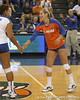 Florida senior libero Elyse Cusack celebrates with Lauren Bledsoe during the Gators' 3-0 win against the Colorado Buffaloes on Saturday, August 29, 2009 at the Stephen C. O'Connell Center in Gainesville, Fla / Gator Country photo by Tim Casey