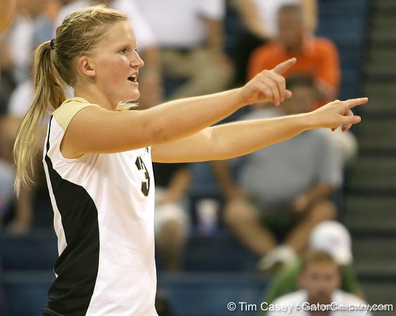 Colorado's libero calls out a play during the Gators' 3-0 win against the Buffaloes on Saturday, August 29, 2009 at the Stephen C. O'Connell Center in Gainesville, Fla / Gator Country photo by Tim Casey