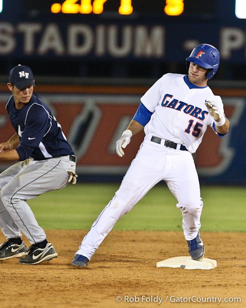 Florida junior catcher Ben McMahan reaches second base safely hitting a stand-up double during the Gators' 4-1 victory over the University of North Florida Ospreys on Wednesday, May 11, 2011 at McKethan Stadium in Gainesville, Fla. / photo by Rob Foldy