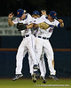 Florida outfielders Daniel Pigott, Preston Tucker, and Bryson Smith celebrate after the Gators' 4-1 victory over the University of North Florida Ospreys on Wednesday, May 11, 2011 at McKethan Stadium in Gainesville, Fla. / photo by Rob Foldy
