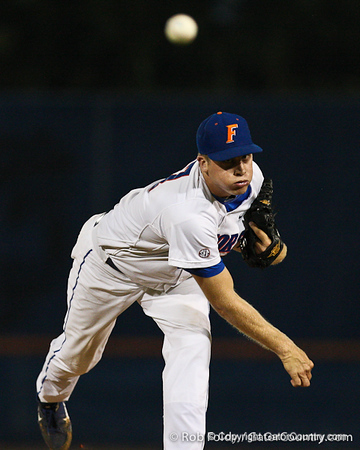Florida junior pitcher Greg Larson delivers a pitch during the Gators' 4-1 victory over the University of North Florida Ospreys on Wednesday, May 11, 2011 at McKethan Stadium in Gainesville, Fla. / photo by Rob Foldy