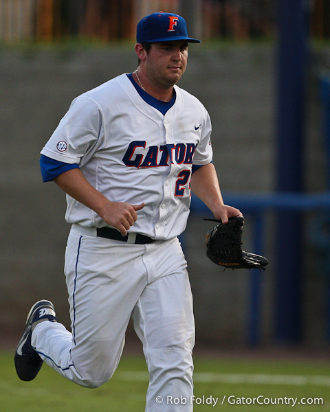 Florida junior pitcher Alex Panteliodis heads back to the dugout during the Gators' 4-1 victory over the University of North Florida Ospreys on Wednesday, May 11, 2011 at McKethan Stadium in Gainesville, Fla. / photo by Rob Foldy