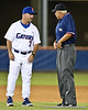 Florida baseball head coach Kevin O'Sullivan discusses a call during the Gators' 4-1 victory over the University of North Florida Ospreys on Wednesday, May 11, 2011 at McKethan Stadium in Gainesville, Fla. / photo by Rob Foldy