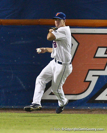 Florida junior outfielder Daniel Pigott throws in the ball during the Gators' 4-1 victory over the University of North Florida Ospreys on Wednesday, May 11, 2011 at McKethan Stadium in Gainesville, Fla. / photo by Rob Foldy