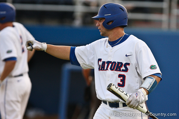 Florida sophomore catcher Mike Zunino waits to thank junior right fielder Preston Tucker for driving him home during the Gators' 4-1 victory over the University of North Florida Ospreys on Wednesday, May 11, 2011 at McKethan Stadium in Gainesville, Fla. / photo by Rob Foldy