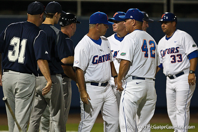 Florida and UNF coaches shook hands after the Gators' 4-1 victory over the University of North Florida Ospreys on Wednesday, May 11, 2011 at McKethan Stadium in Gainesville, Fla. / photo by Rob Foldy