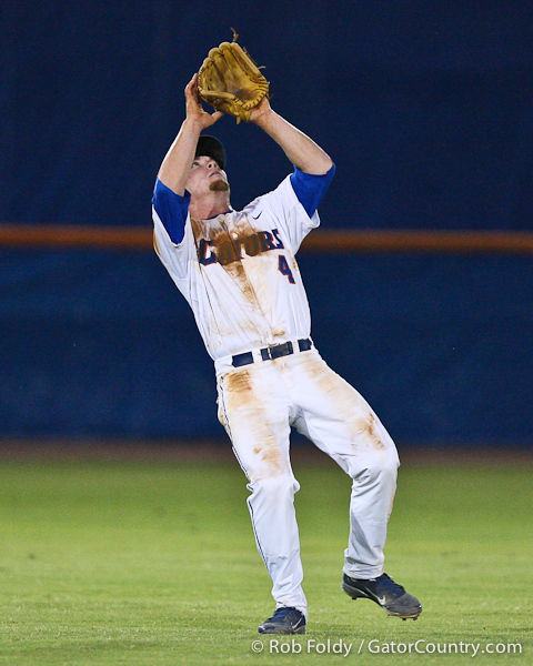 Florida sophomore shortstop Nolan Fontana catches a fly ball during the Gators' 4-1 victory over the University of North Florida Ospreys on Wednesday, May 11, 2011 at McKethan Stadium in Gainesville, Fla. / photo by Rob Foldy