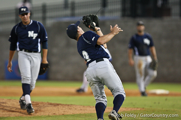 UNF senior shortstop Sam Perry catches an infield fly during the Gators' 4-1 victory over the University of North Florida Ospreys on Wednesday, May 11, 2011 at McKethan Stadium in Gainesville, Fla. / photo by Rob Foldy