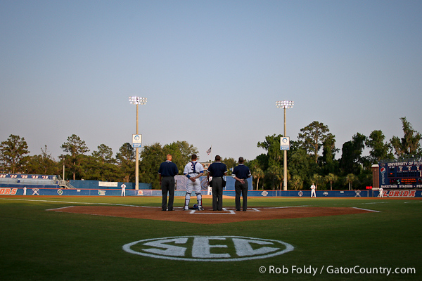 The Gators line up for the National anthem just before Florida defeated  the University of North Florida Ospreys 4-1 on Wednesday, May 11, 2011 at McKethan Stadium in Gainesville, Fla. / photo by Rob Foldy