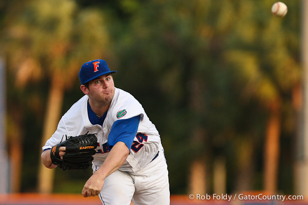 Florida junior pitcher Alex Panteliodis delivers a pitch during the Gators' 4-1 victory over the University of North Florida Ospreys on Wednesday, May 11, 2011 at McKethan Stadium in Gainesville, Fla. / photo by Rob Foldy