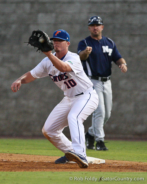 Florida sophomore Austin Maddox records an out during the Gators' 4-1 victory over the University of North Florida Ospreys on Wednesday, May 11, 2011 at McKethan Stadium in Gainesville, Fla. / photo by Rob Foldy