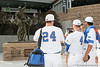 "Florida players videotape the ""Road to Omaha"" statue during the Men's College World Series practice day on Friday, June 17, 2011 at TD Ameritrade Park in Omaha, Neb. / Gator Country photo by Tim Casey"
