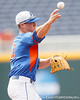 Florida sophomore shortstop Nolan Fontana throws to first base during the Men's College World Series practice day on Friday, June 17, 2011 at TD Ameritrade Park in Omaha, Neb. / Gator Country photo by Tim Casey