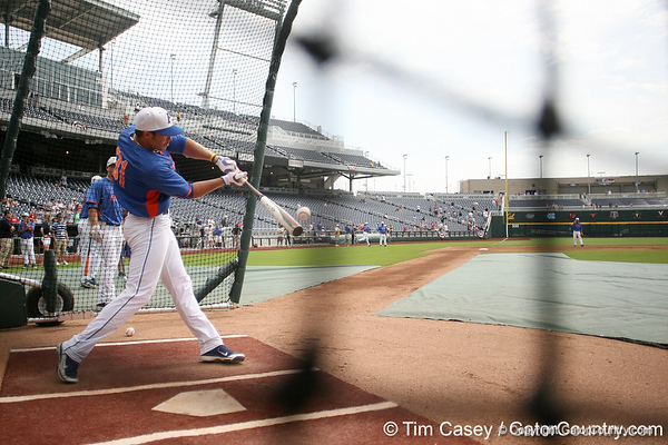 Florida redshirt junior outfielder Paul Wilson hits the ball during the Men's College World Series practice day on Friday, June 17, 2011 at TD Ameritrade Park in Omaha, Neb. / Gator Country photo by Tim Casey