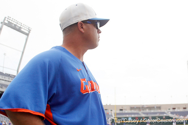 Florida baseball head coach Kevin O'Sullivan looks on during the Men's College World Series practice day on Friday, June 17, 2011 at TD Ameritrade Park in Omaha, Neb. / Gator Country photo by Tim Casey