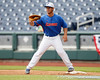 Florida junior Preston Tucker works out at first base during the Men's College World Series practice day on Friday, June 17, 2011 at TD Ameritrade Park in Omaha, Neb. / Gator Country photo by Tim Casey