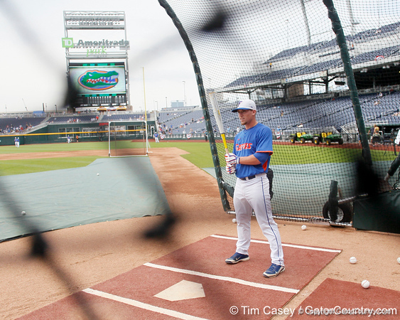 Florida sophomore shortstop Nolan Fontana prepares to bat during the Men's College World Series practice day on Friday, June 17, 2011 at TD Ameritrade Park in Omaha, Neb. / Gator Country photo by Tim Casey