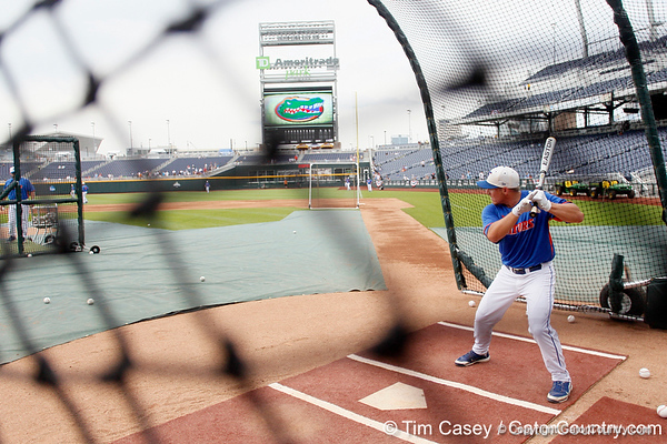 Florida junior infielder Jeff Moyer bats during the Men's College World Series practice day on Friday, June 17, 2011 at TD Ameritrade Park in Omaha, Neb. / Gator Country photo by Tim Casey