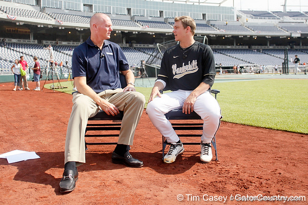 Jeff Nelson interviews Vanderbilt pitcher Sonny Gray during the Men's College World Series practice day on Friday, June 17, 2011 at TD Ameritrade Park in Omaha, Neb. / Gator Country photo by Tim Casey