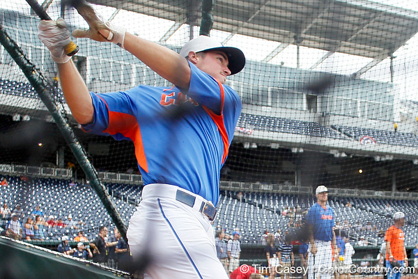 Florida sophomore infielder Cody Dent bats during the Men's College World Series practice day on Friday, June 17, 2011 at TD Ameritrade Park in Omaha, Neb. / Gator Country photo by Tim Casey