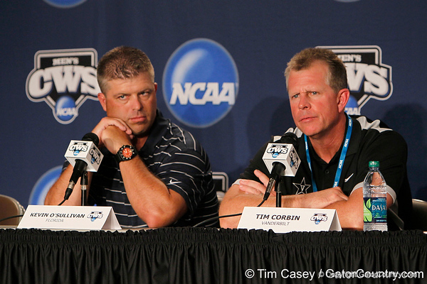 Florida baseball head coach Kevin O'Sullivan and Vanderbilt head coach Tim Corbin participate in a press conference during the Men's College World Series practice day on Friday, June 17, 2011 at TD Ameritrade Park in Omaha, Neb. / Gator Country photo by Tim Casey