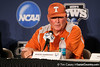Texas head coach Augie Garrido speaks at a press conference during the Men's College World Series practice day on Friday, June 17, 2011 at TD Ameritrade Park in Omaha, Neb. / Gator Country photo by Tim Casey