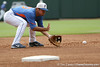 Florida sophomore infielder Cody Dent fields a ground ball during the Men's College World Series practice day on Friday, June 17, 2011 at TD Ameritrade Park in Omaha, Neb. / Gator Country photo by Tim Casey